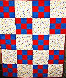 star loops nine patch baby quilt