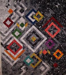 black and white diamond quilt swirls and flames custom quilting